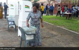 Former First Lady Naadu Mills votes at Spintex