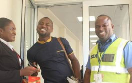Staff of Ghana Airport presents chocolates to Abeiku Santana on Val's Day