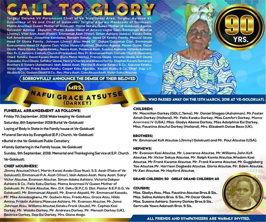 CALL TO GLORY ..... NAFUI  GRACE  ATSUTSE