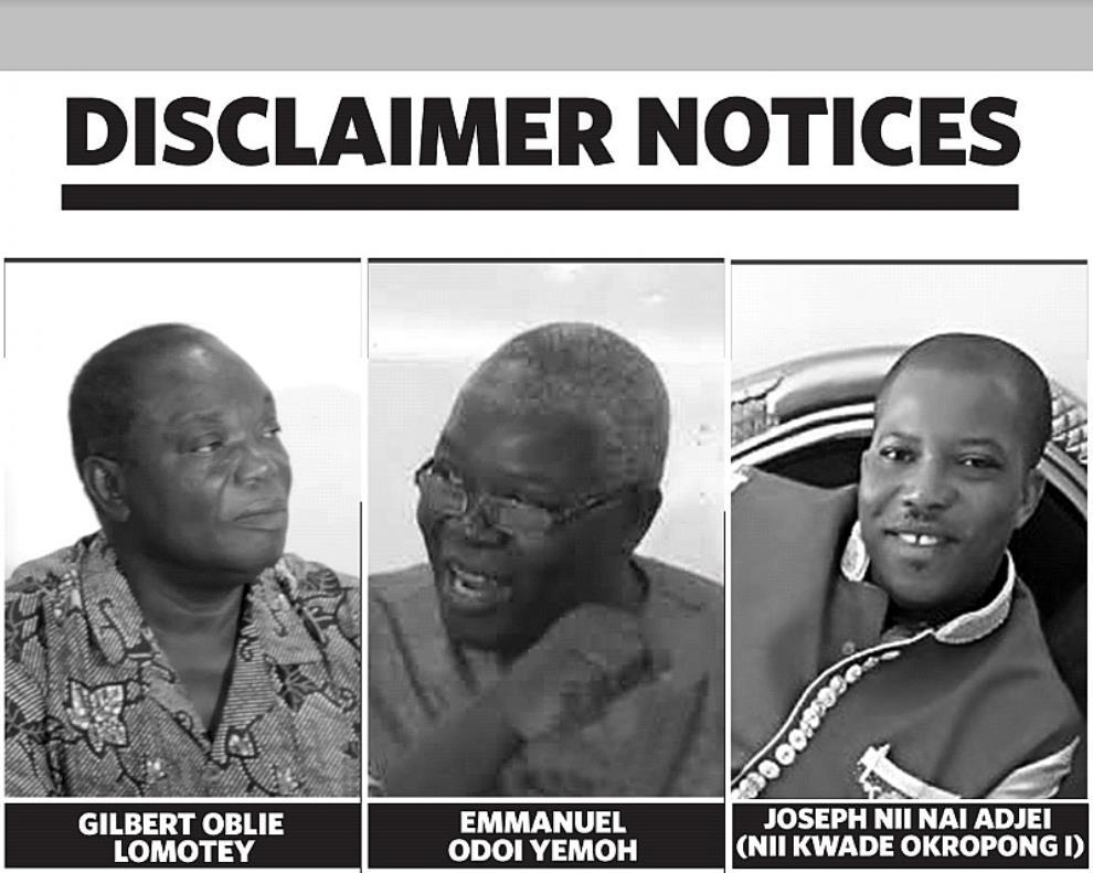 Disclaimer: East Dadekotopon Development Trust Denies Three Persons