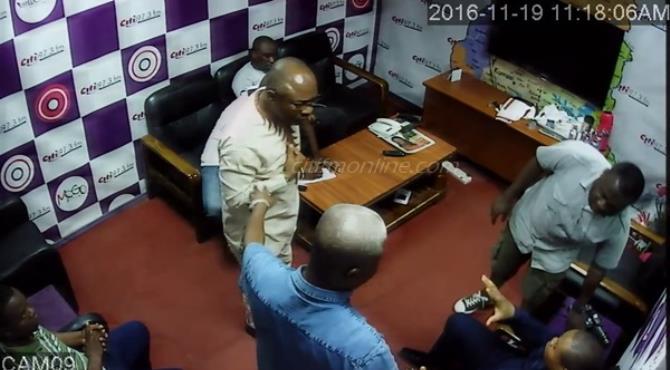 Angry Woyome, aides, storm Citi FM studio