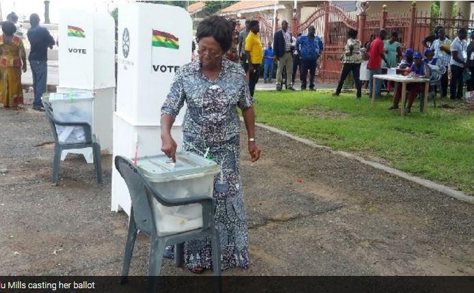 Former First Lady Naadu Mills votes at Spintex