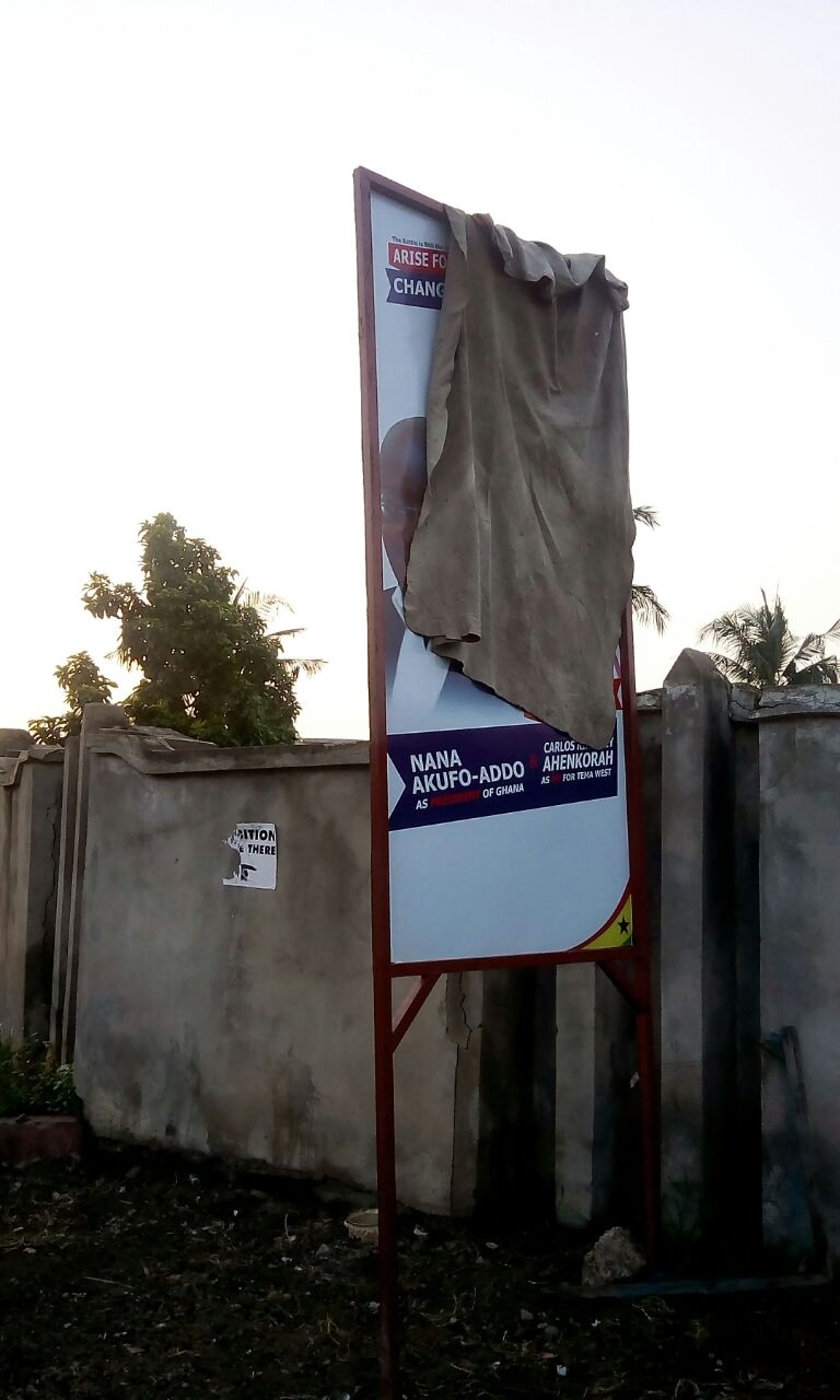Confusion over position of signboard at polling station in Tema