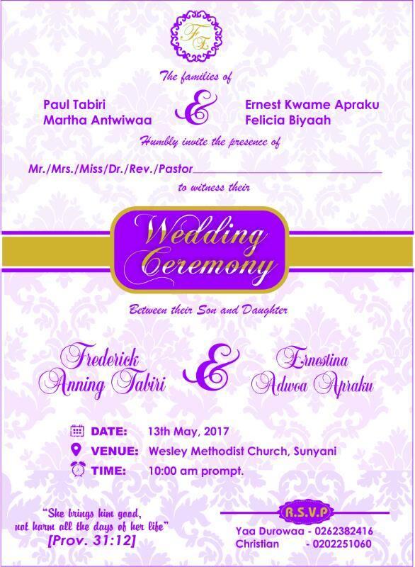 Wedding Ceremony  13th MAY 2017  AT SUNYANI  10 am