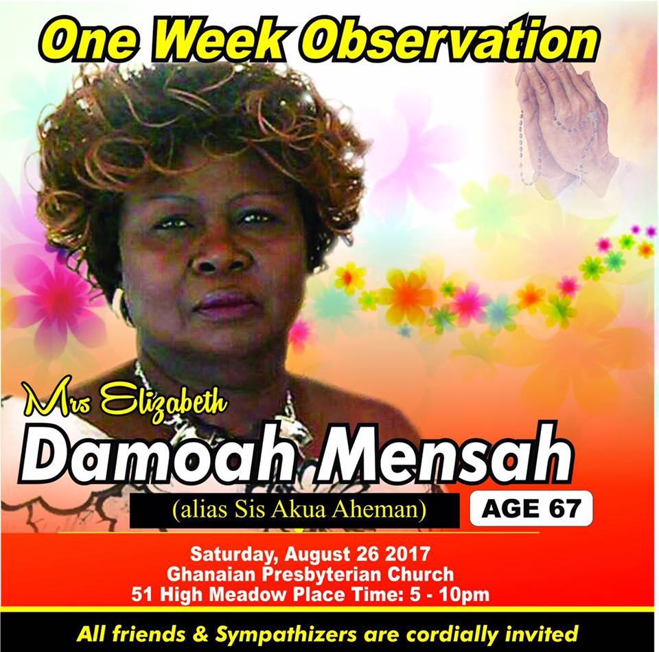ONE WEEK OBSERVATION  (DAMOAH MENSAH)  TORONTO CANADA